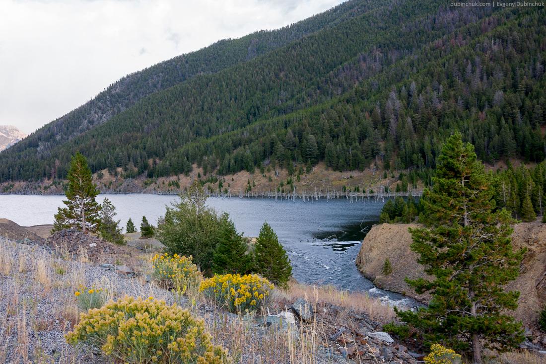 Исток реки из горного озера, Монтана. Одиночное велопутешествие по США. River head in mountain lake
