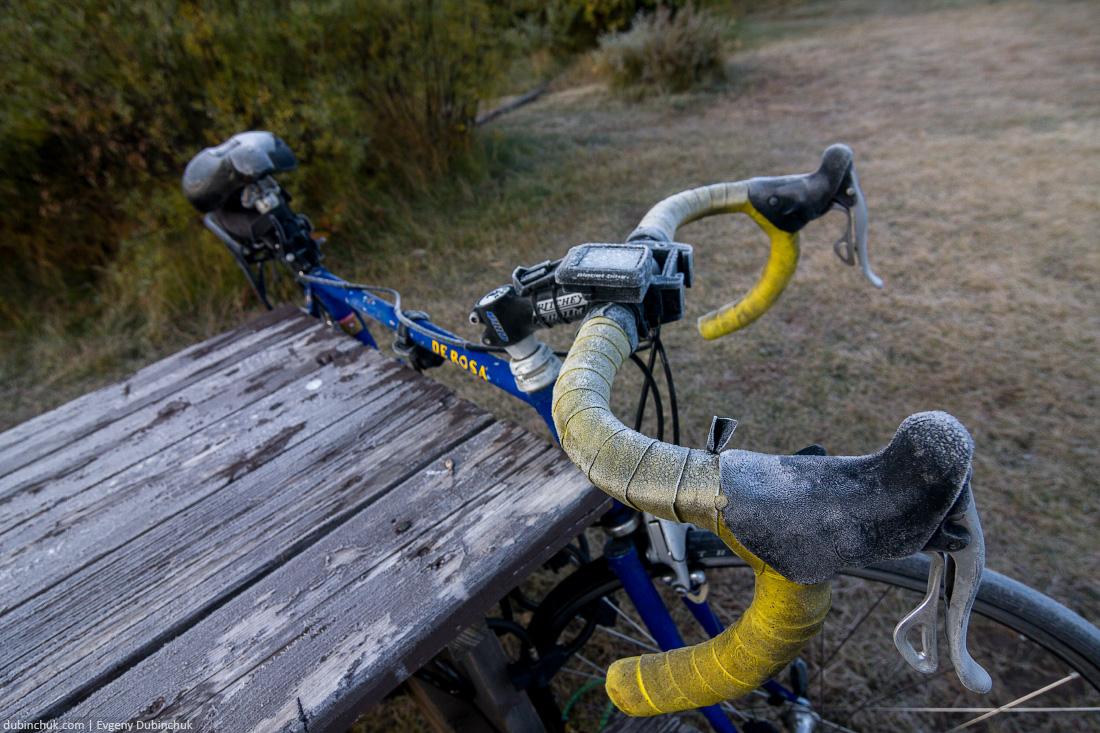Велосипед покрылся инеем. Одиночное путешествие на велосипеде в Америку. Frozen bike. Solo cycling trip in USA