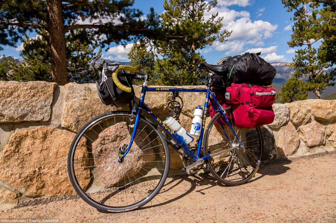 Путешествие на велосипеде в одиночку по США. Национальный парк Роки-Маунтин. Rocky Mountain National Park. Solo cycling tour in USA