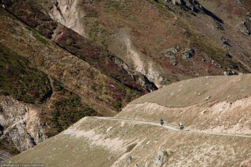 Cyclists on mountain road in Turkey