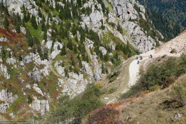 Group of cyclists on mountain road. Turkey