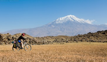 Cyclist at Mount Ararat. East Turkey