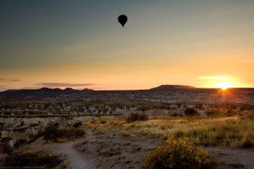 Balloon at sunset flying above Cappadocia, Turkey