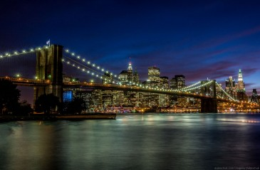 Brooklyn Bridge at night. NYC