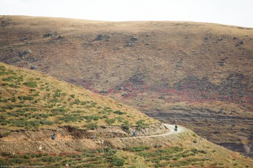 Cyclists on scenery road in Kachkar Mountains, Turkey