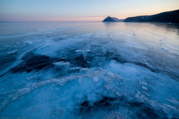 Frozen lake Baikal from above