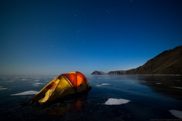 Tent on ice of lake Baikal