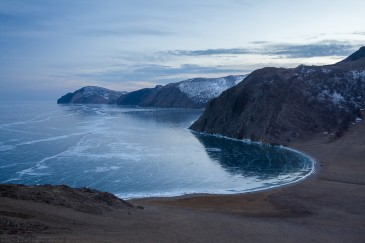 Ice of lake Baikal in winter from above