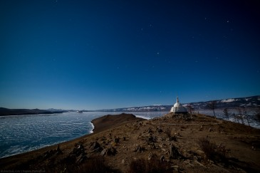 Buddhist stupa at night. Ogoi island, Baikal