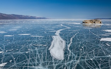 Ice of lake Baikal in winter