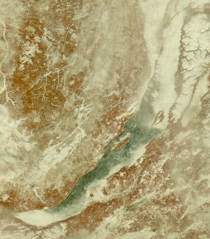 Спутниковый снимок Байкала. Много чистого льда