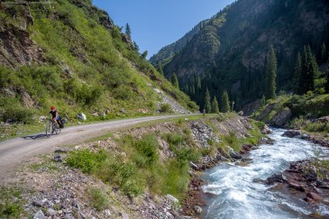 Cycling touring in Tien Shan Mountains