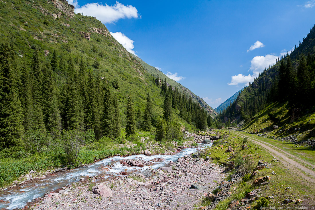 Mountain river and road in Kyrgyzstan