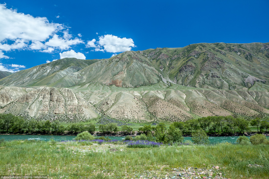 Green water of Kekemeren river, Tien Shan