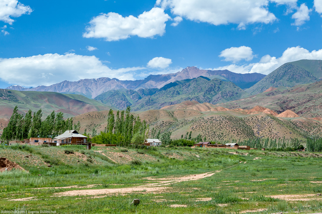 Village and colorful mountains of Tien Shan