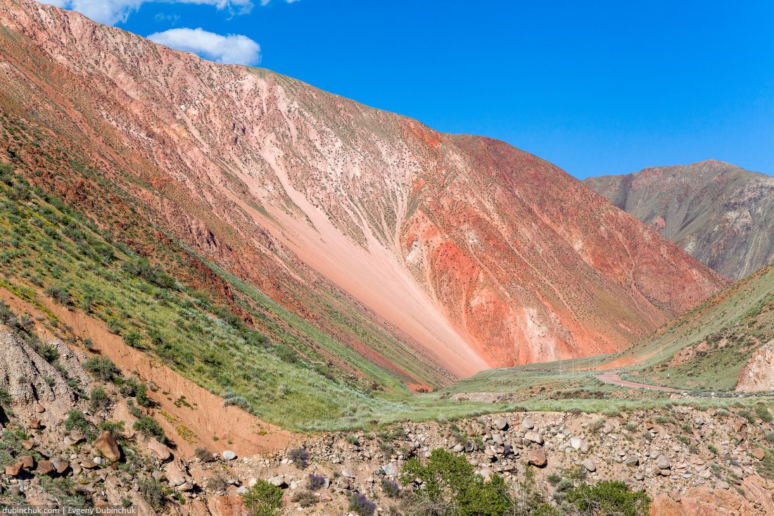Vibrant red colored mountain in Kyrgyzstan