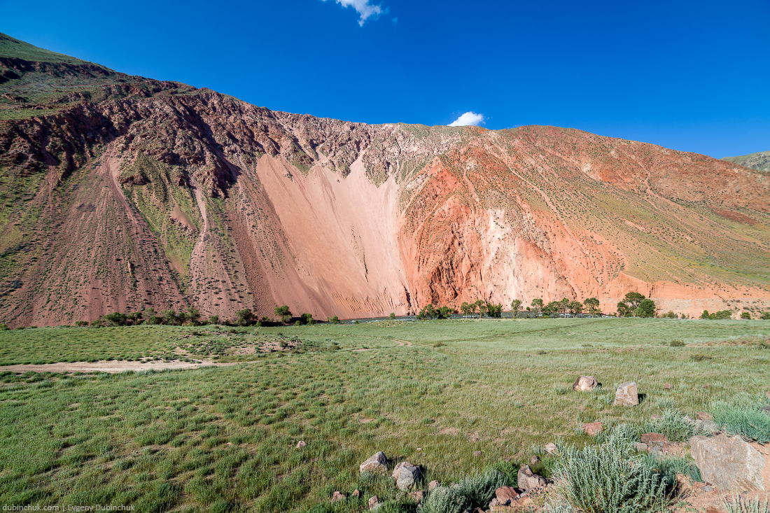 Colorful red mountains of Tien Shan