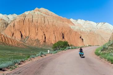 Cycling along Kekemeren river. Tien Shan Mountains, Kyrgyzstan
