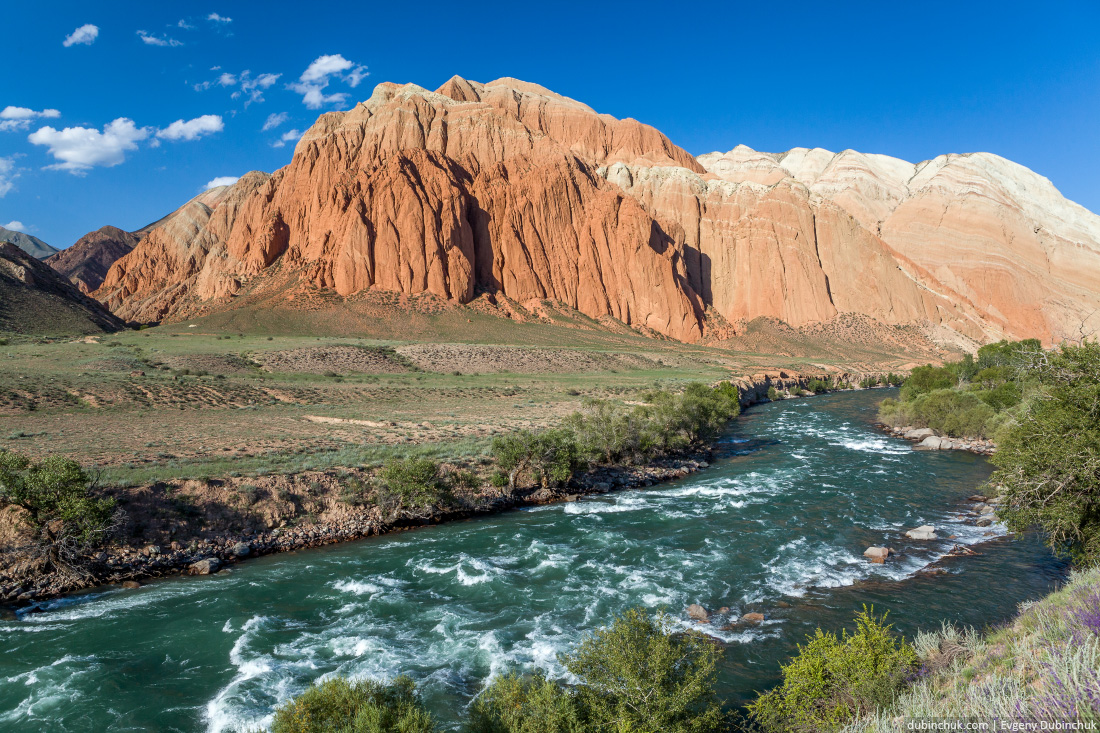 Kekemeren river and rock formations, Kyrgyzstan