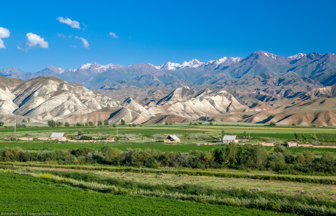 Village in bizarre scenic Tien Shan mountains