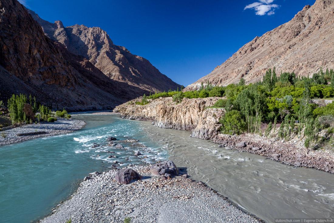 Слияние рек Драс и Суру рядом с Каргилом