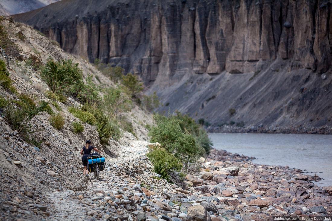 По каменистой тропе вдоль реки Занскар на велосипедах