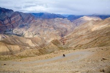 Cyclist in Zanskar Valley. Hanuma La Pass, Himalayas, India