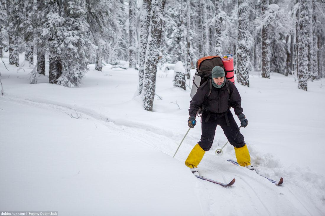 Спуск на лыжах с горы Лукаш. Южный Урал, Зюраткуль