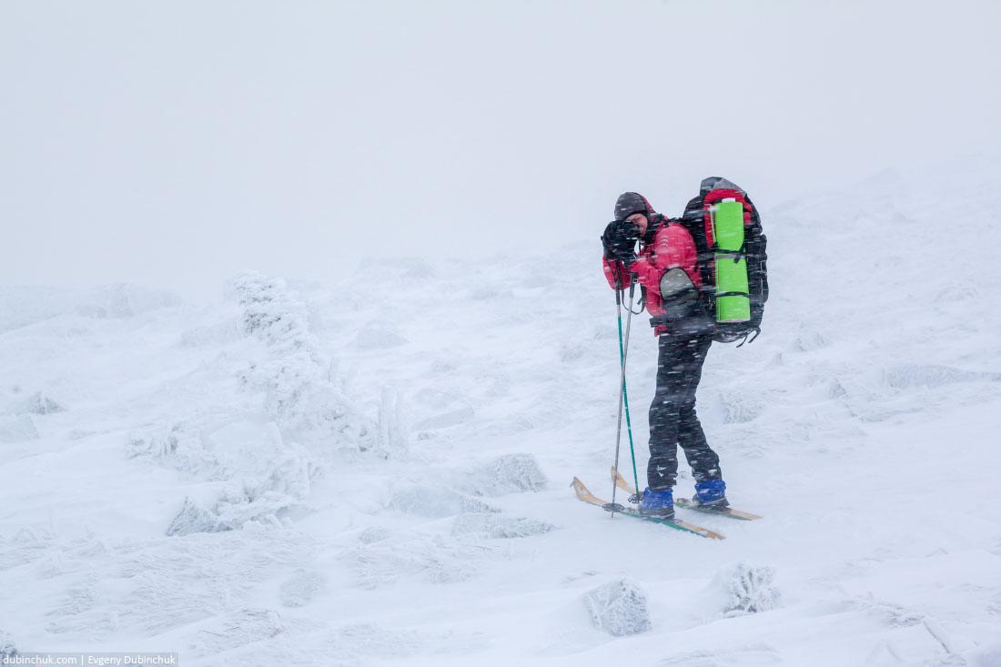 Суровая погода в лыжном походе