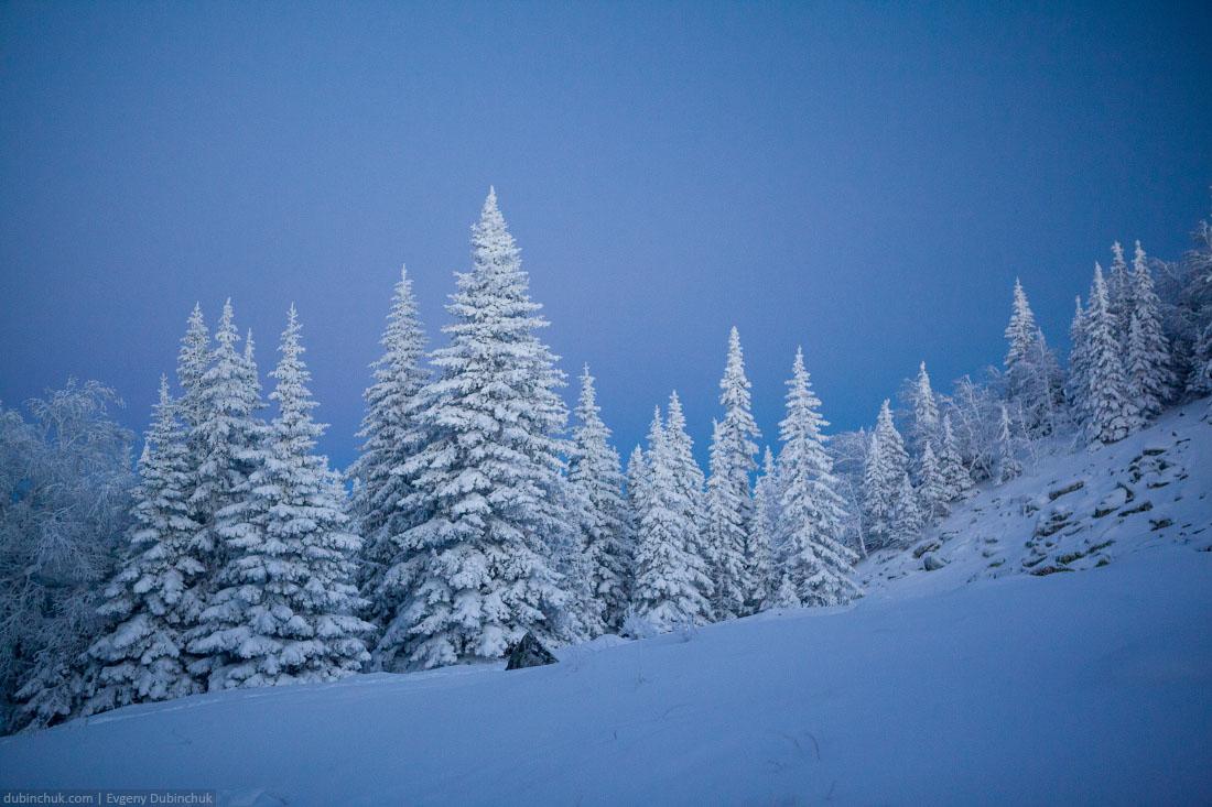 Закат на Южном Урале зимой