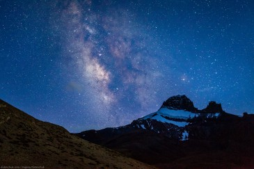 Stars in Himalaya mountains. Zanskar, India