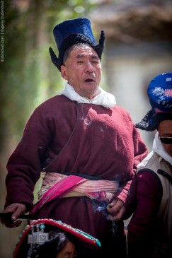 Buddhist at religious feast. Ladakh, Indian Himalayas