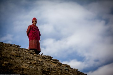Monk at Lamayuru Gompa monastery in Ladakh, India