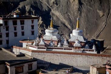 Buddhist stupas at Lamayuru Gompa monastery