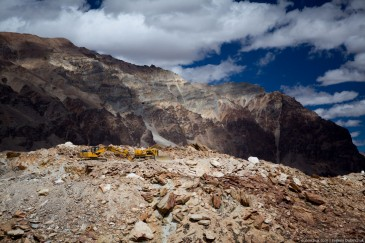 Excavator in Ladakh, North India