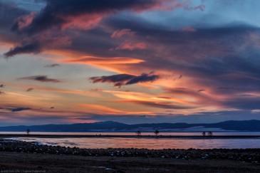 Красивейший рассвет на Байкале зимой. Majestic sunrese on Baikal lake in winter