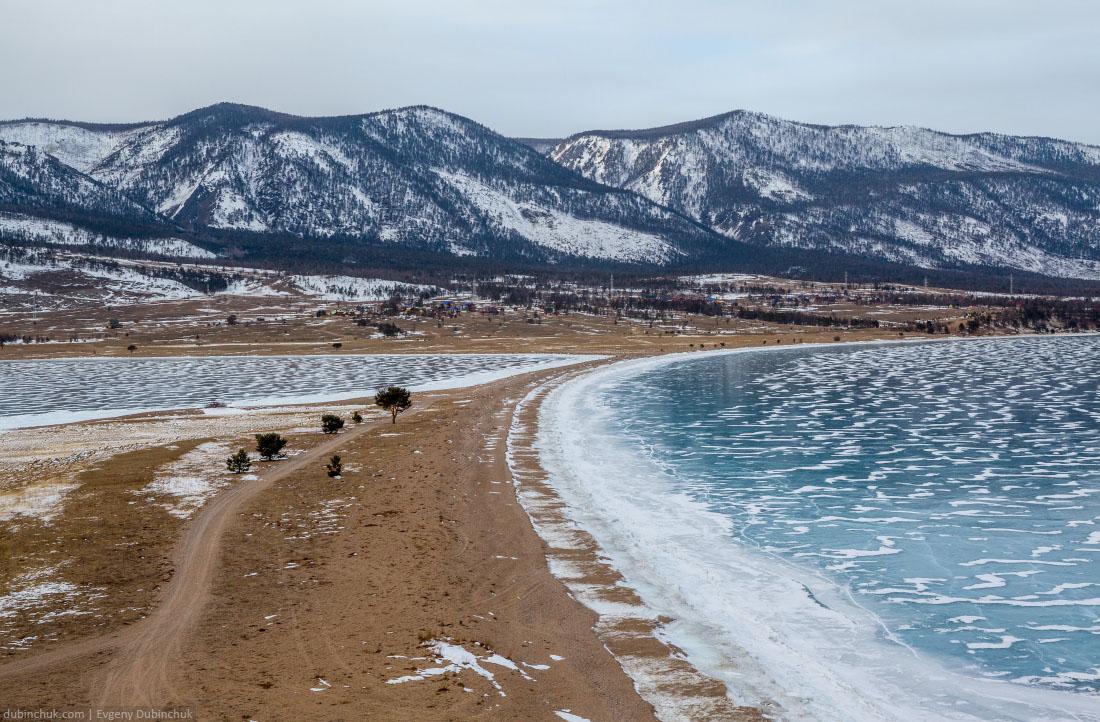 Курминская коса зимой. Мыс Уюга. Байкал, Малое Море. Kurma in winter. Lake Baikal
