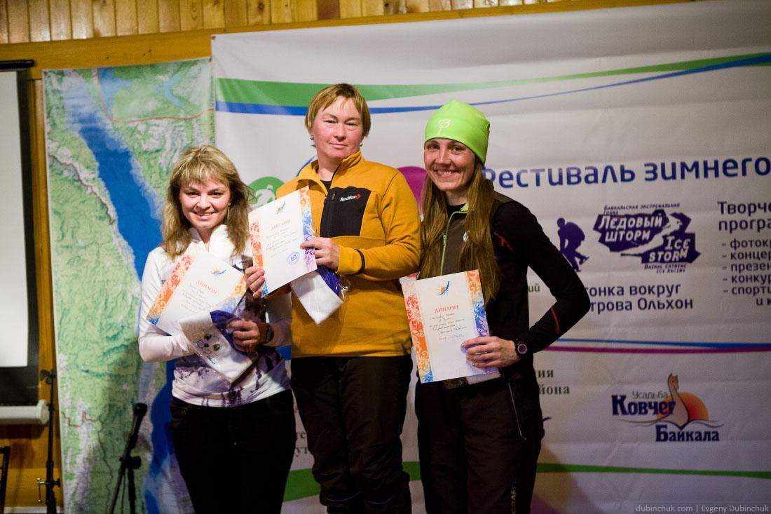 Победители гонки на коньках среди женщин на дистанции 40 км на ледовом фестивале
