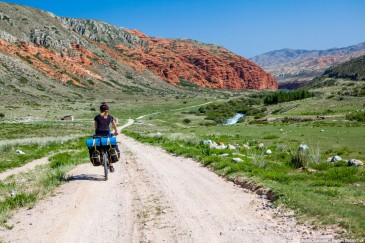 Tour cycling in Tien Shan mountains. Kyrgyzstan