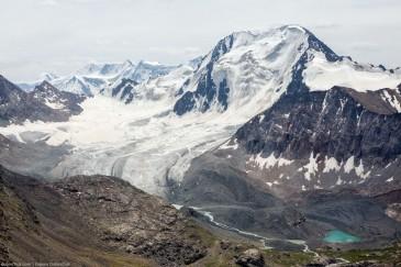 Glacier and love-shaped lake near Ala-Kul lake. Tien Shan, Kyrgyzstan