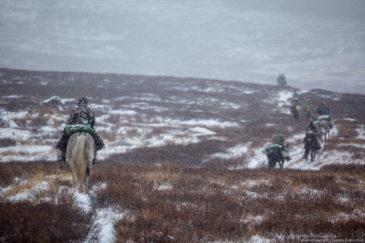 Hunters riding horses in Altai republic