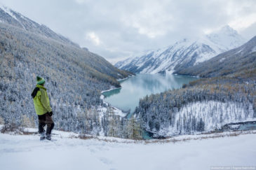 Hiker looking at Kucherla lake. Altai
