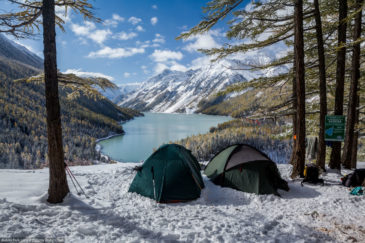 Two tents above Kucherla lake. Altai
