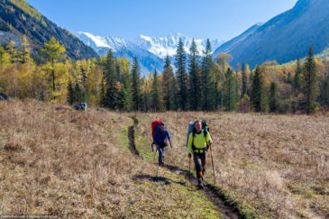 Hikers in Altai mountains