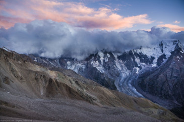 Adylsu valley at sunset. Caucasus mountains